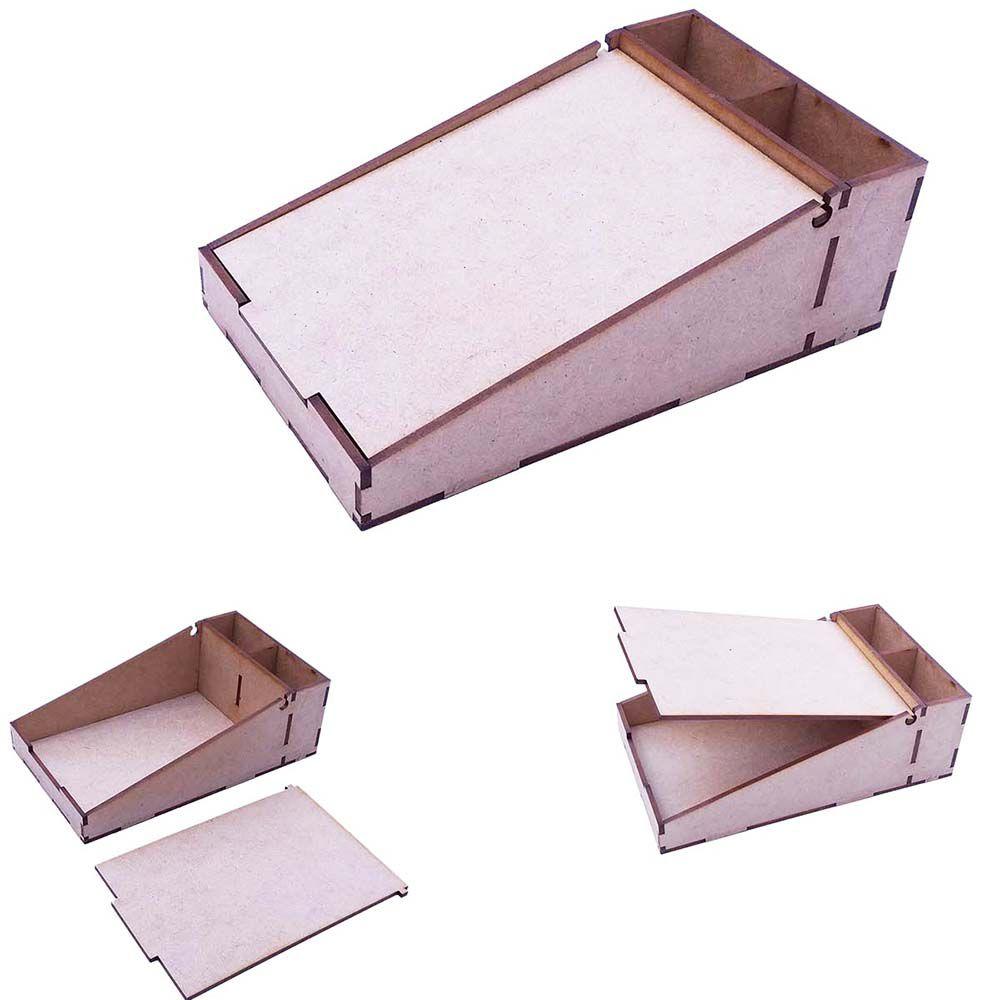 Kit 10 Caixinha mdf porta bloco recado anotação caneta