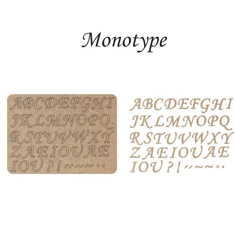Kit 10 Cartela mdf letra alfabeto e sinais 3 cm monotype