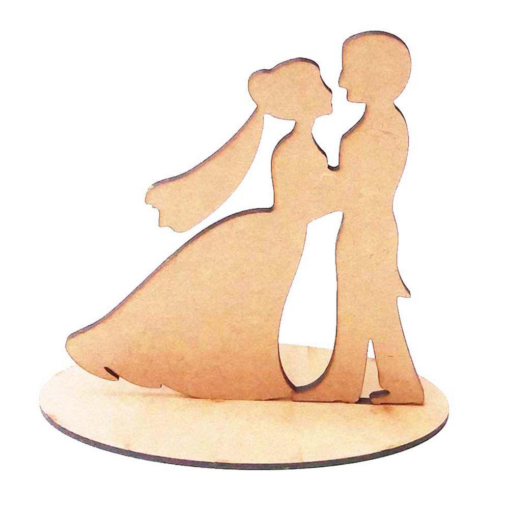 Kit 10 Casal 15cm topo de bolo noivos mdf festa casamento