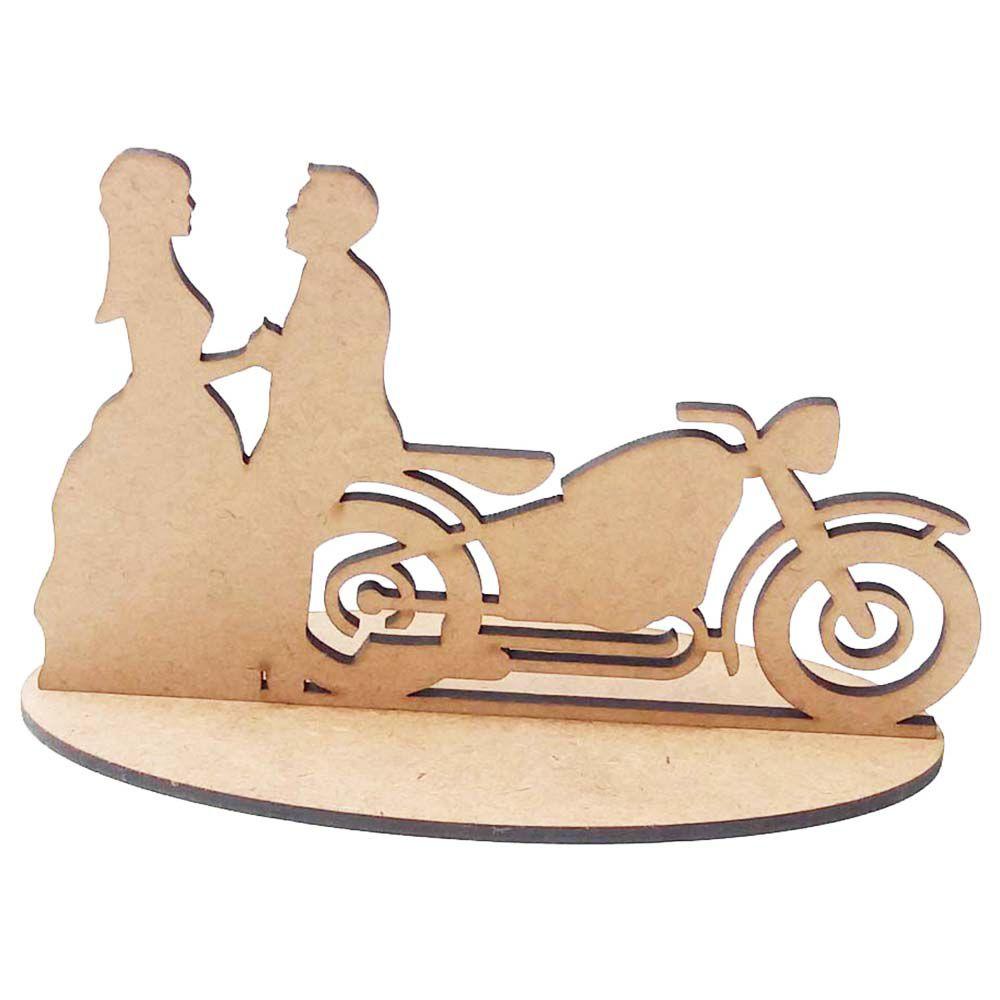 Kit 10 Casal de noivos topo de bolo moto motoqueiro mdf