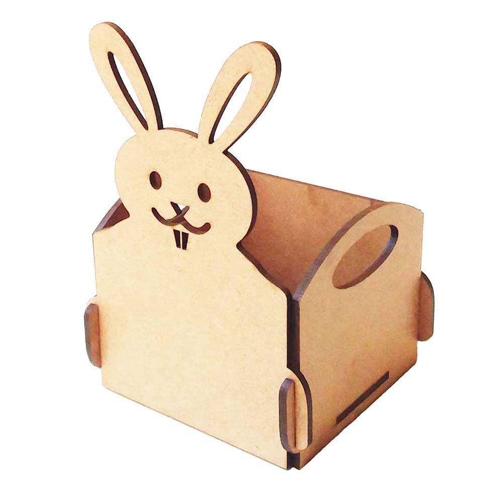 Kit 10 Cestinha caixotinho 10x15cm coelho coelhinho páscoa