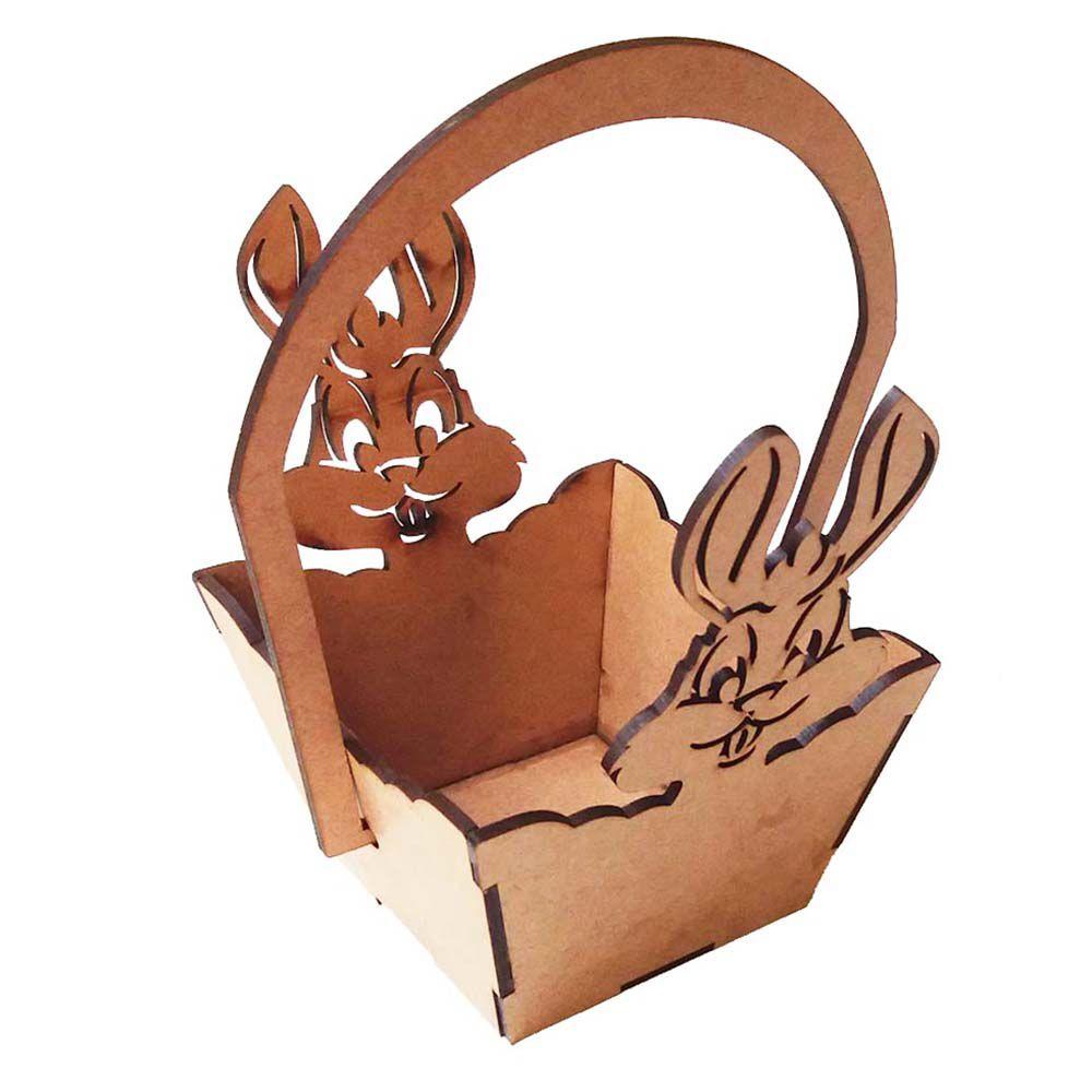 Kit 10 Cestinha cesta coelho de páscoa chocolate e doce