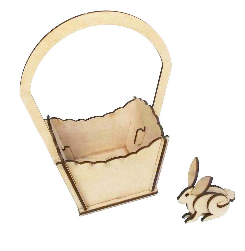 Kit 10 Cestinha mdf cesta de páscoa com mini coelhinho