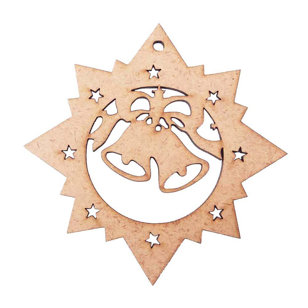 Kit 10 Estrela guia mdf sino Belém enfeite de natal 9,5 cm