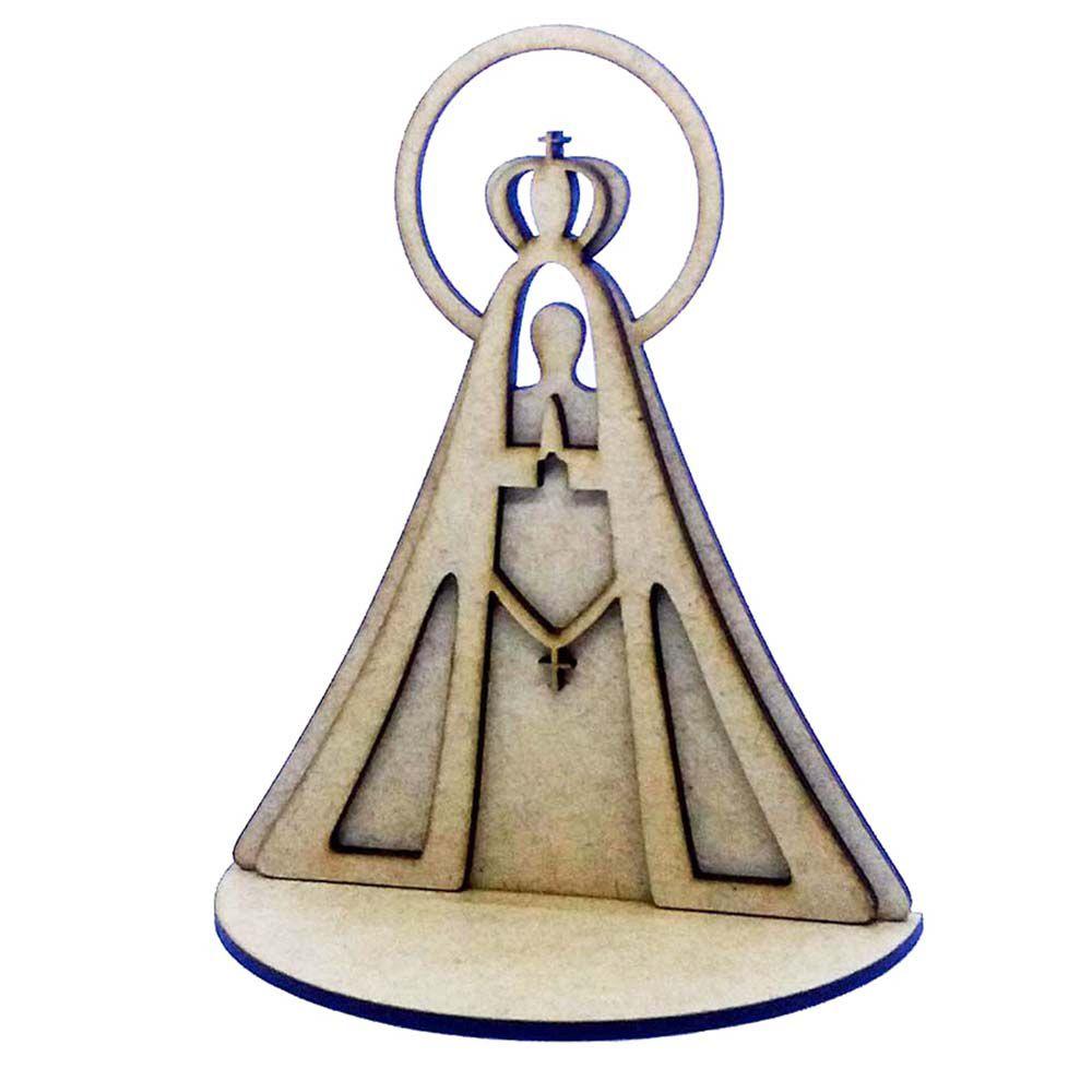 Kit 10 Nossa senhora 15cm dupla camada c base arte religioso