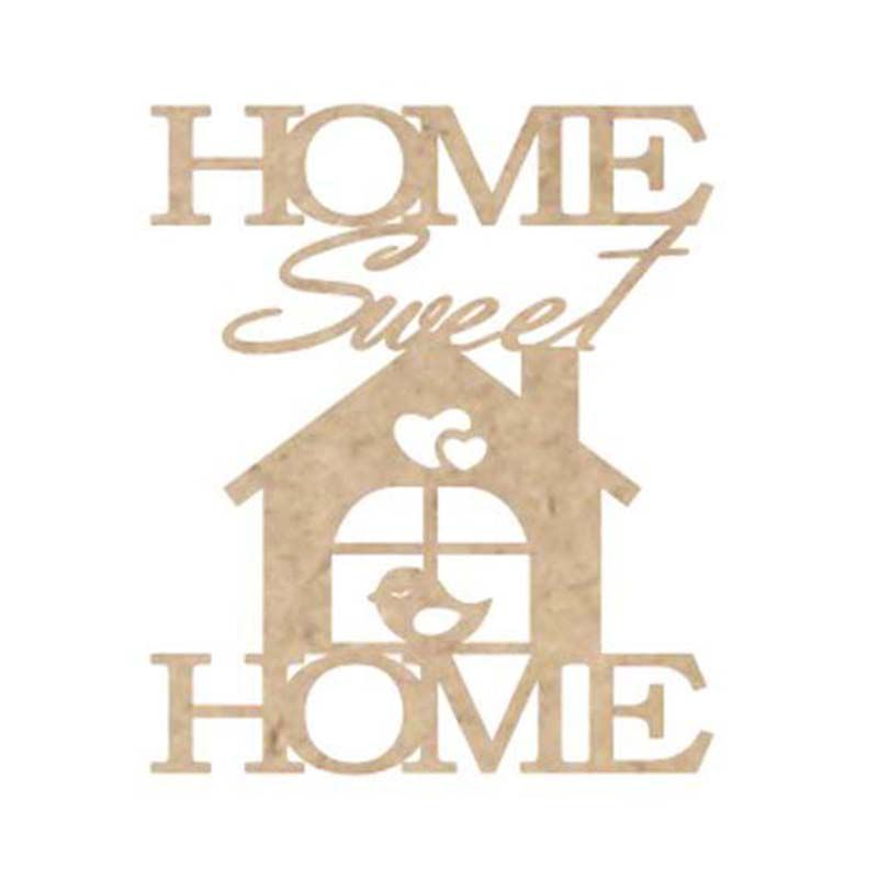 Kit 15 Aplique mdf Home sweet home lar doce lar 12x14cm