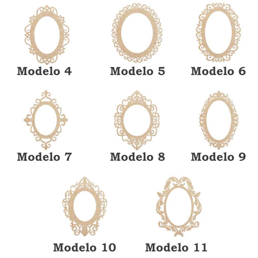 Kit 15 Moldura placa mdf Oval 14 cm opção 8 modelos arabesco