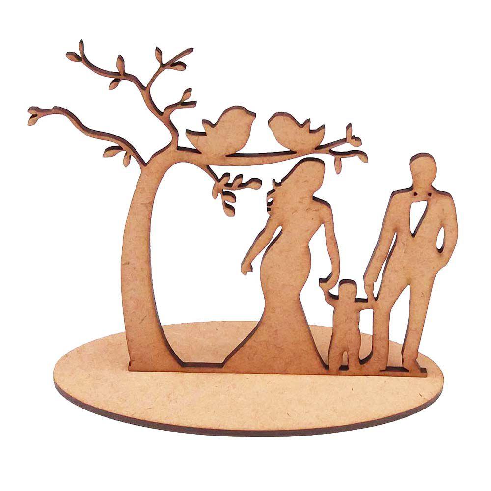 Kit 20 Árvore casal criança topo de bolo mdf noiva casamento