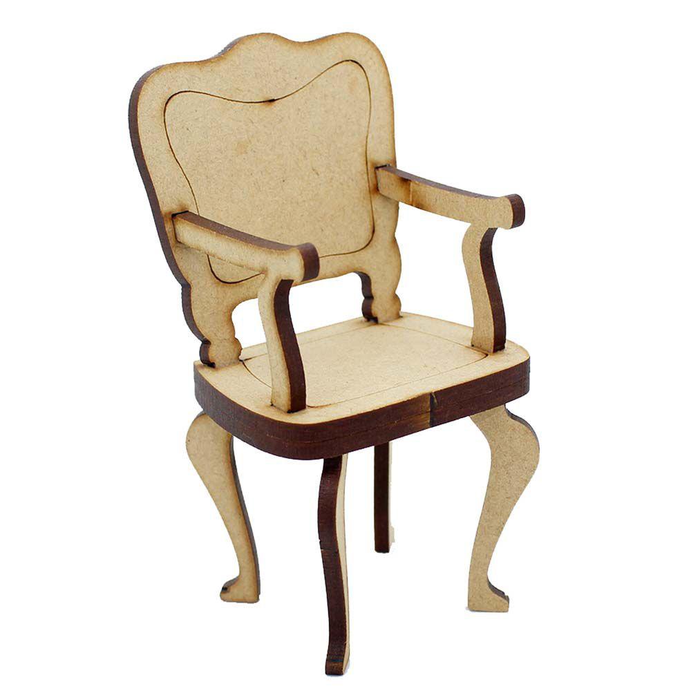 Kit 20 Cadeira cadeirinha mdf miniatura 10 cm modelo Luiz XV