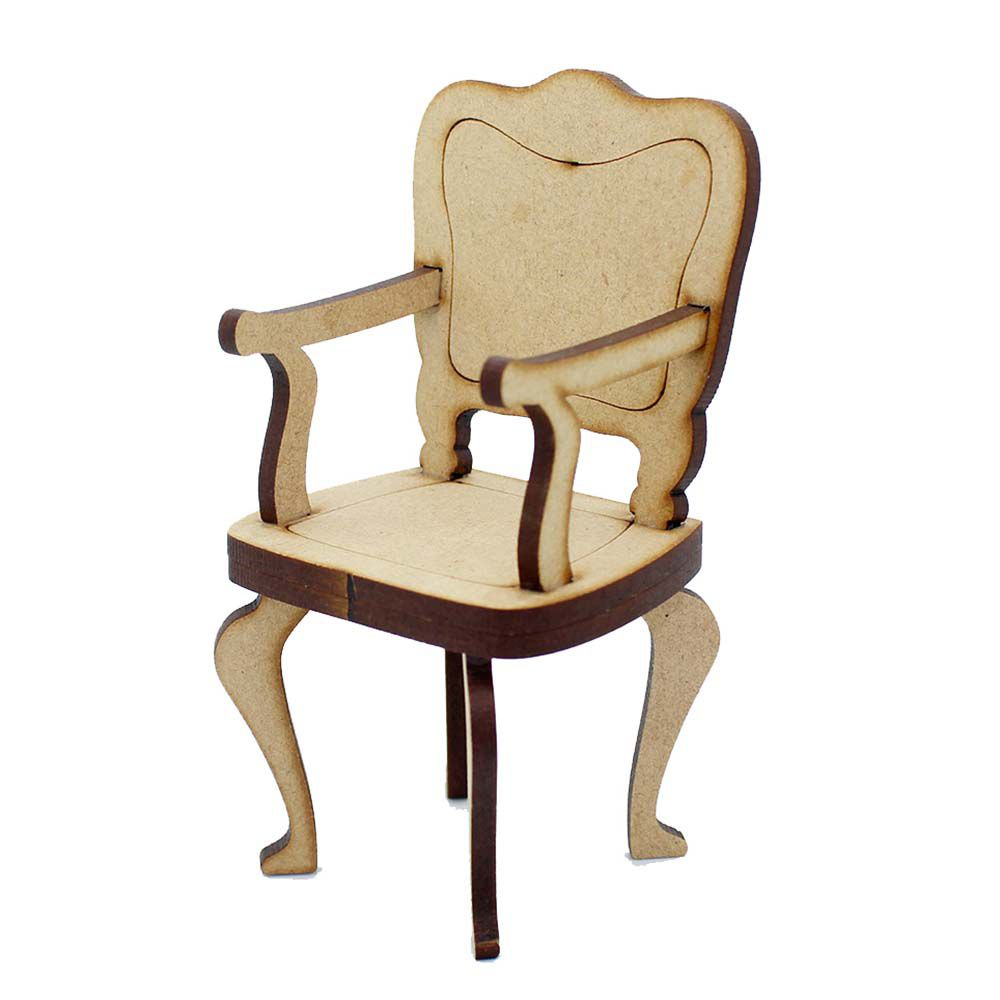kit 2 Cadeira cadeirinha mdf miniatura 10 cm modelo Luiz XV