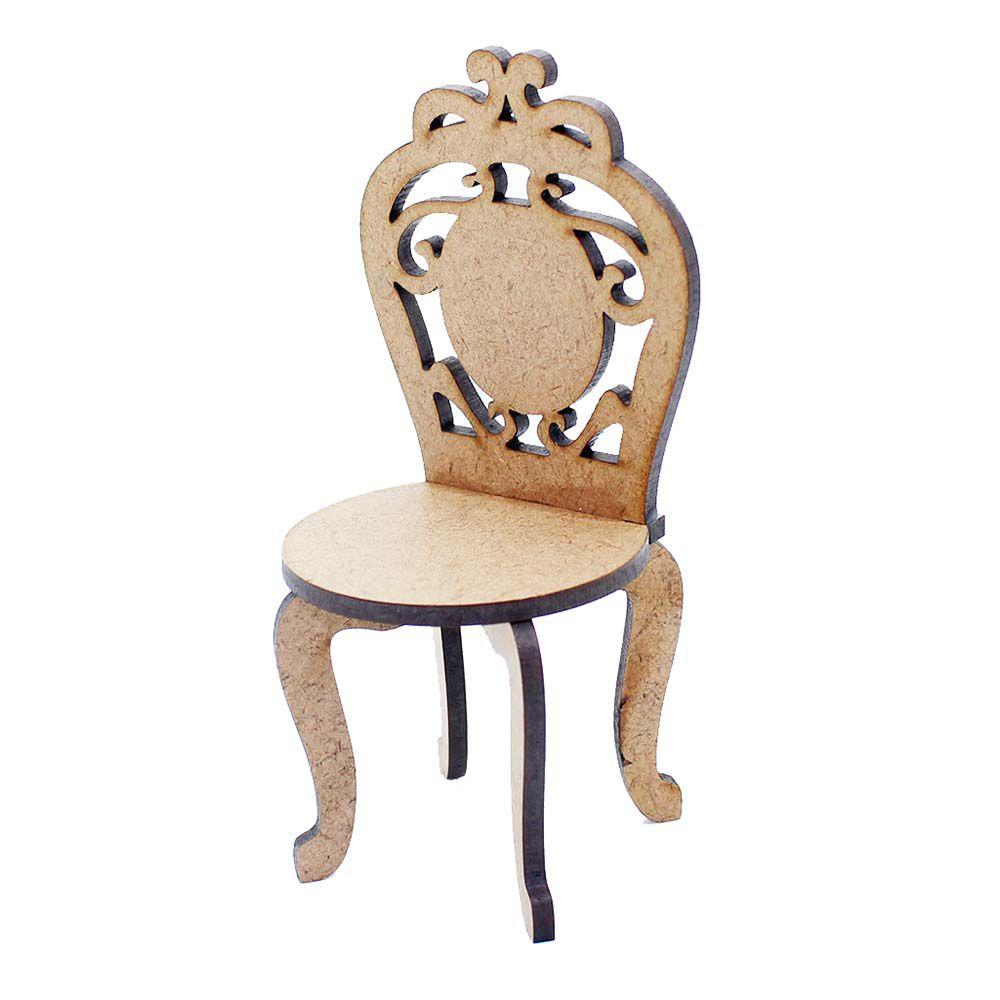 Kit 2 Cadeira cadeirinha mdf miniatura 11cm provençal festa