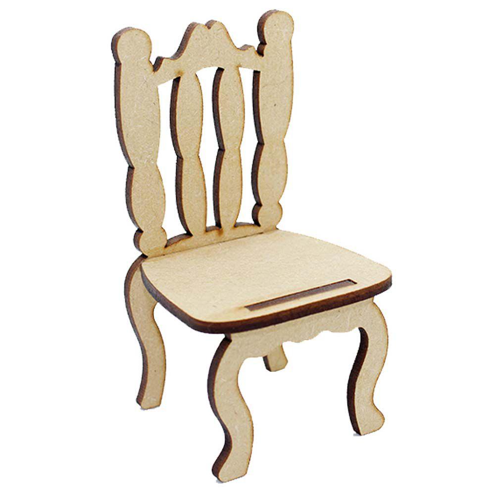 Kit 2 Cadeira cadeirinha mdf miniatura 15 cm tradicional