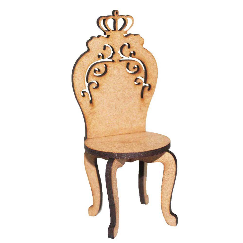 Kit 2 Cadeira cadeirinha mdf miniatura 15cm provençal coroa