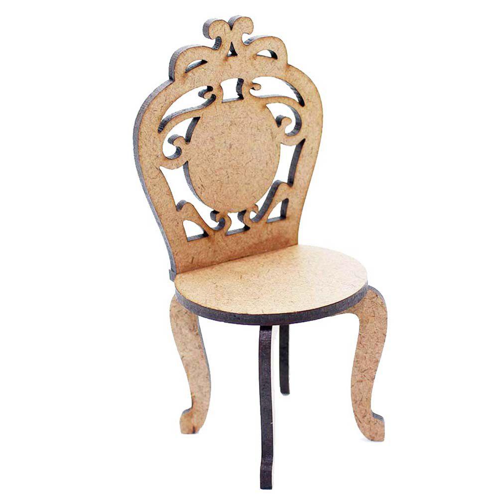 kit 4 Cadeira cadeirinha mdf miniatura 7cm provençal cenário