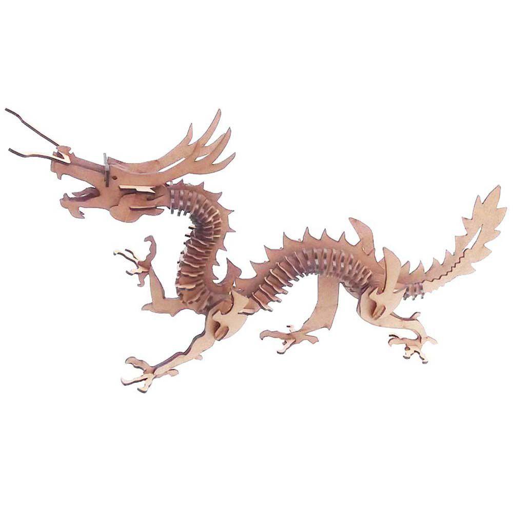 Kit 4 Dragão Chinês Quebra Cabeça 3D mdf