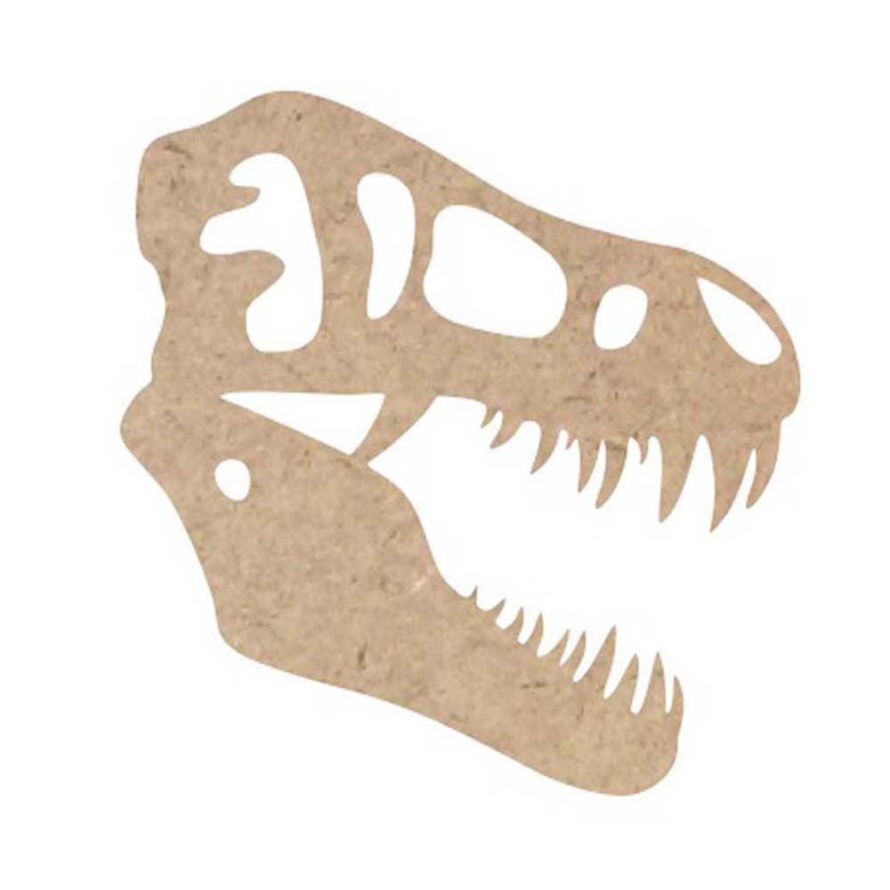 Kit 4 recorte aplique mdf  dinossauro Tiranossauro Rex 20 cm