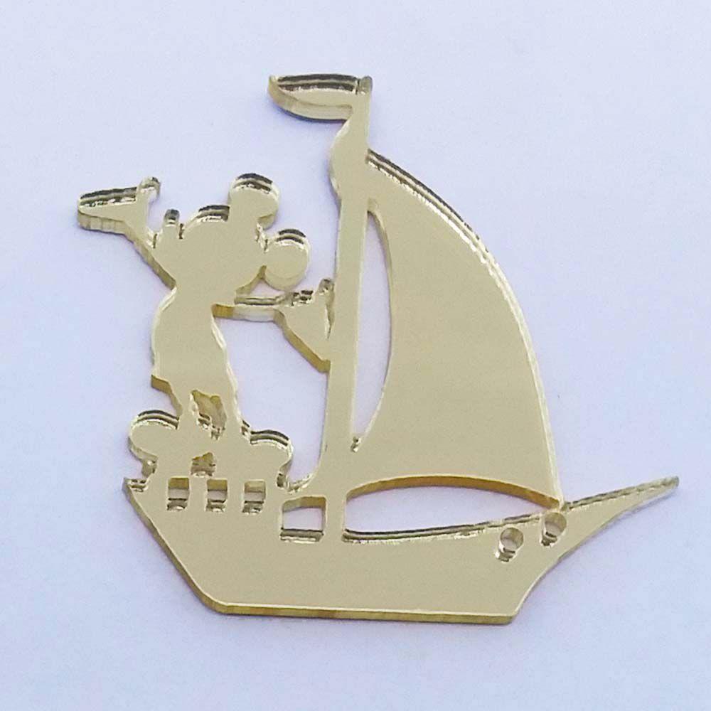 Kit 50 Aplique barquinho mickey marinheiro Acrilico espelhado AP308