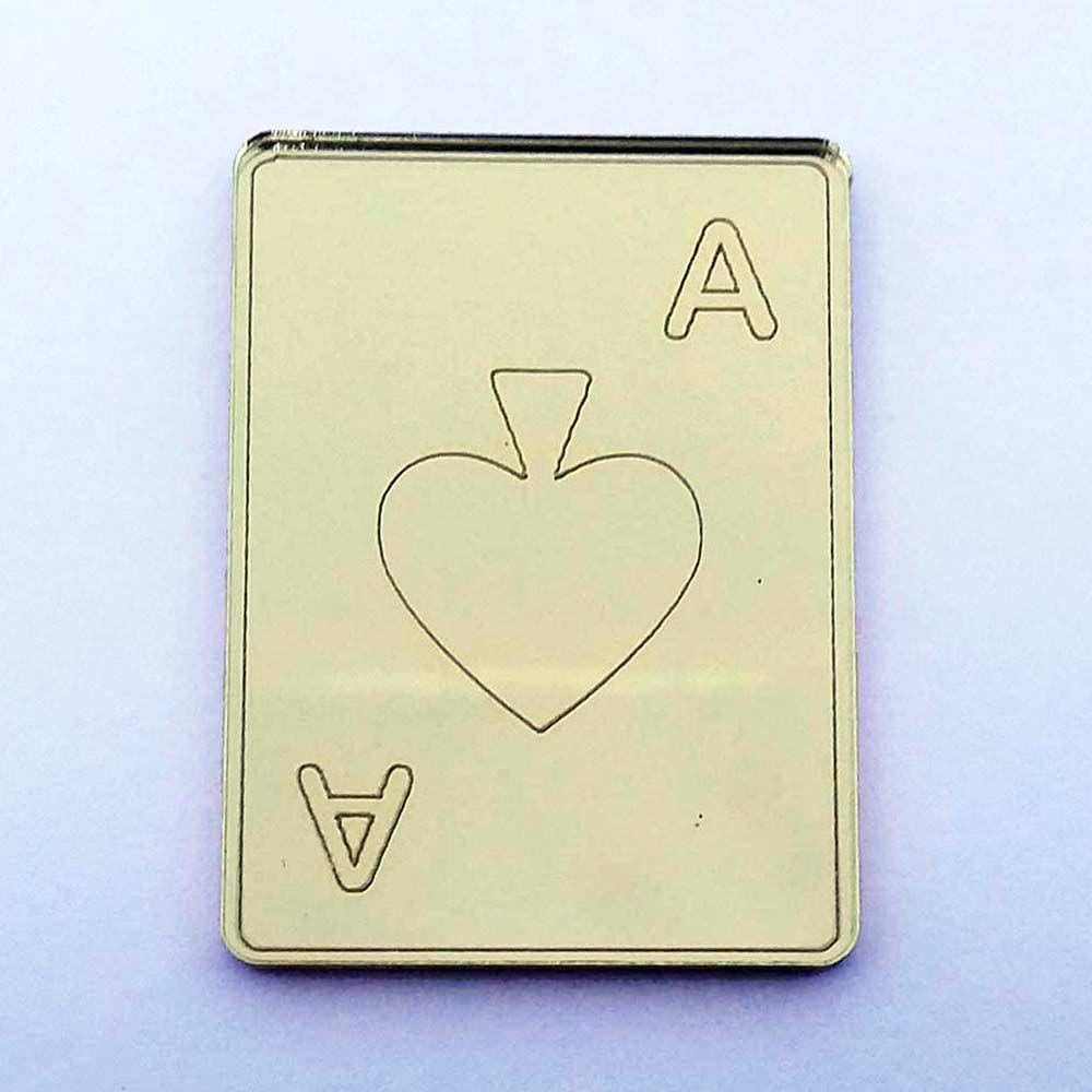 Kit 50 Aplique carta baralho Alice Acrílico espelhado AP249