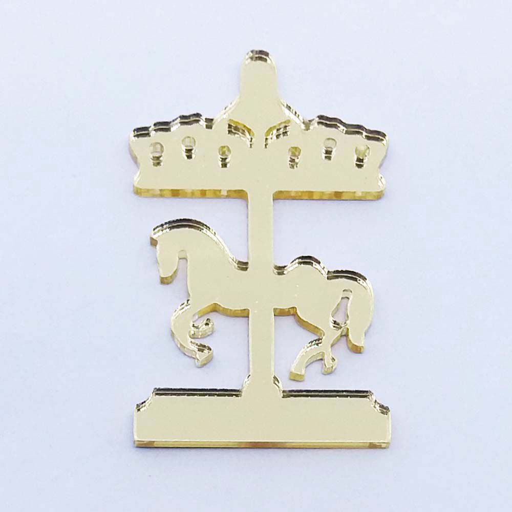 Kit 50 Aplique cavalinho carrossel Acrílico espelhado dourado ou prata AP008