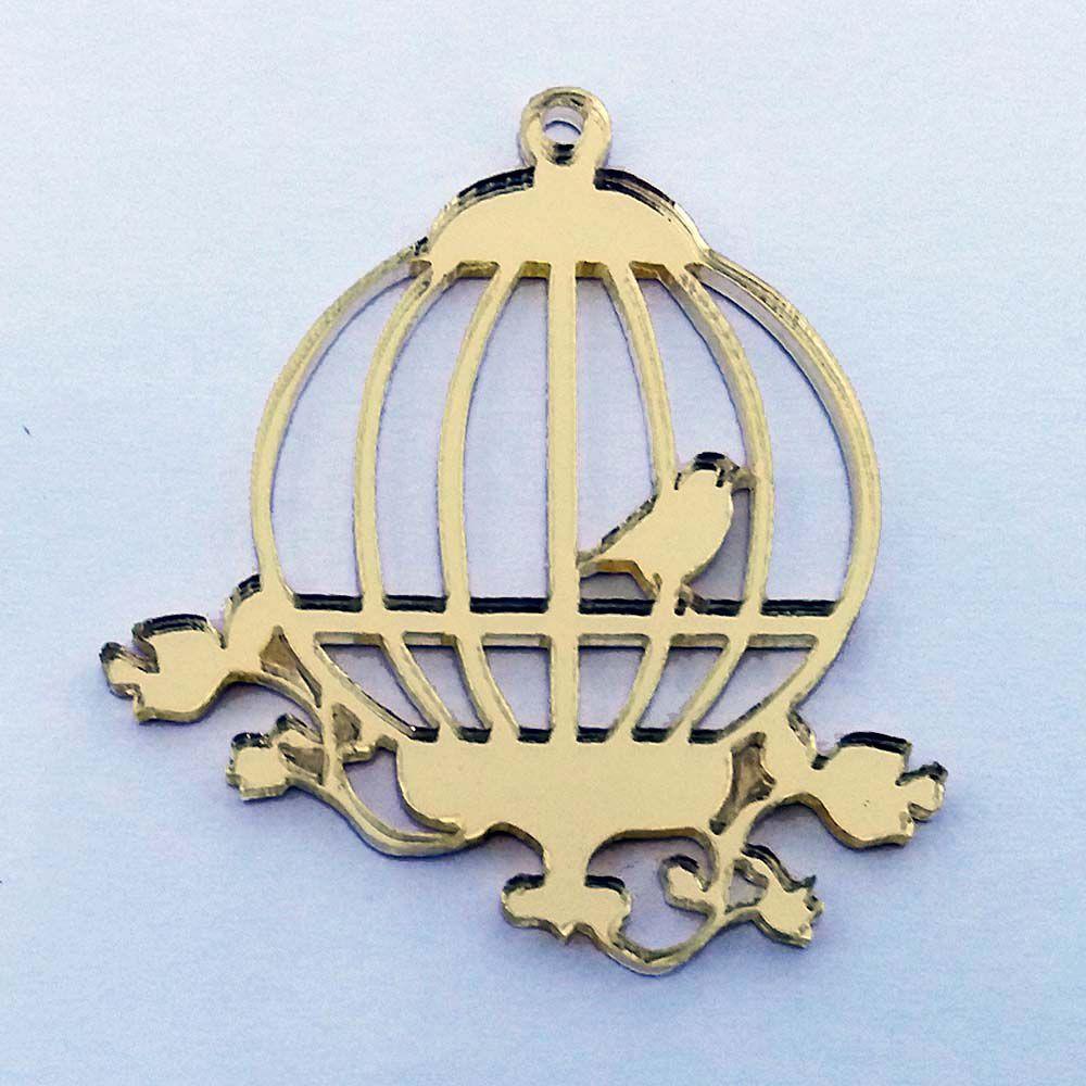 Kit 50 Aplique gaiola de passarinho Acrílico espelhado AP189
