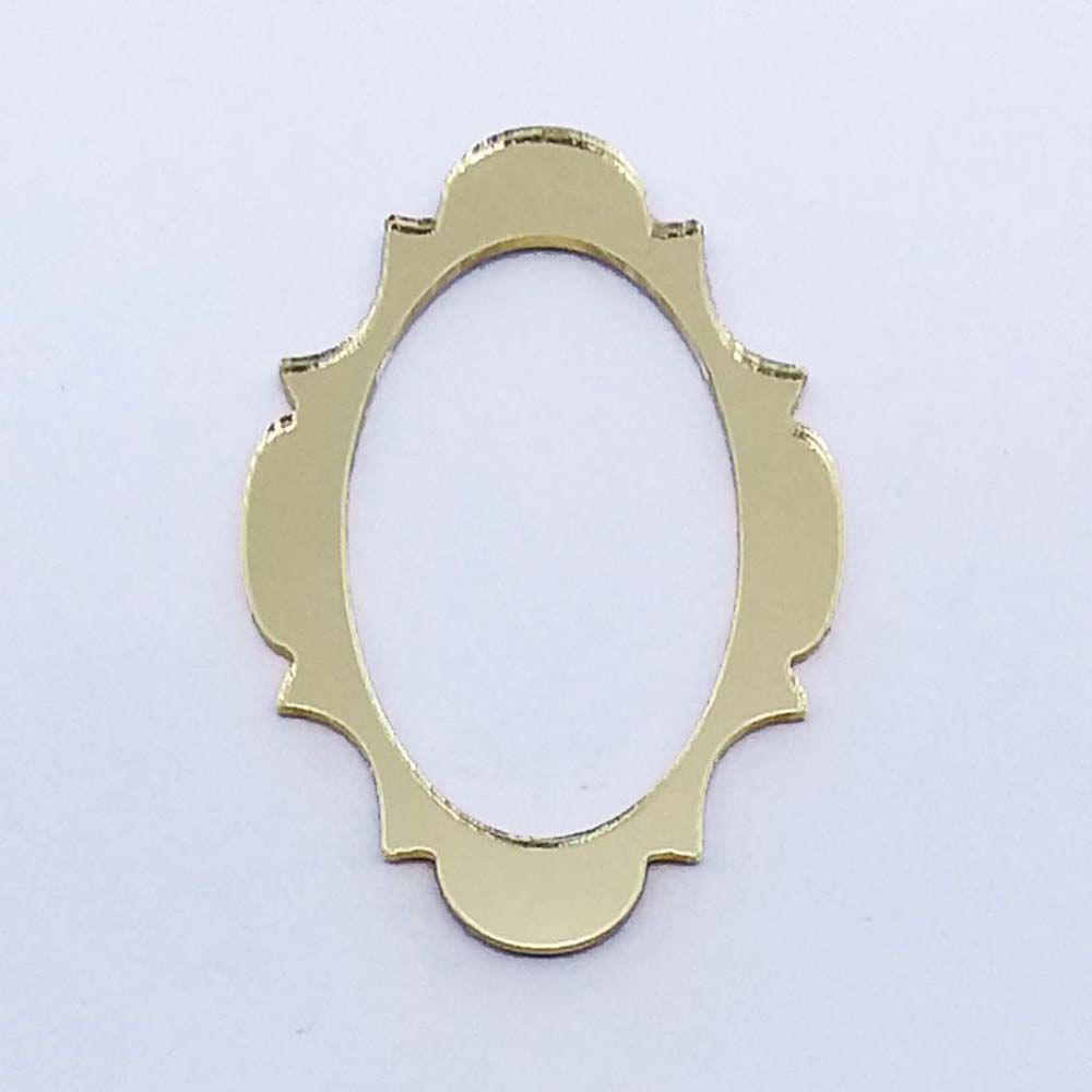 Kit 50 Aplique moldura oval Acrilico espelhado AP029