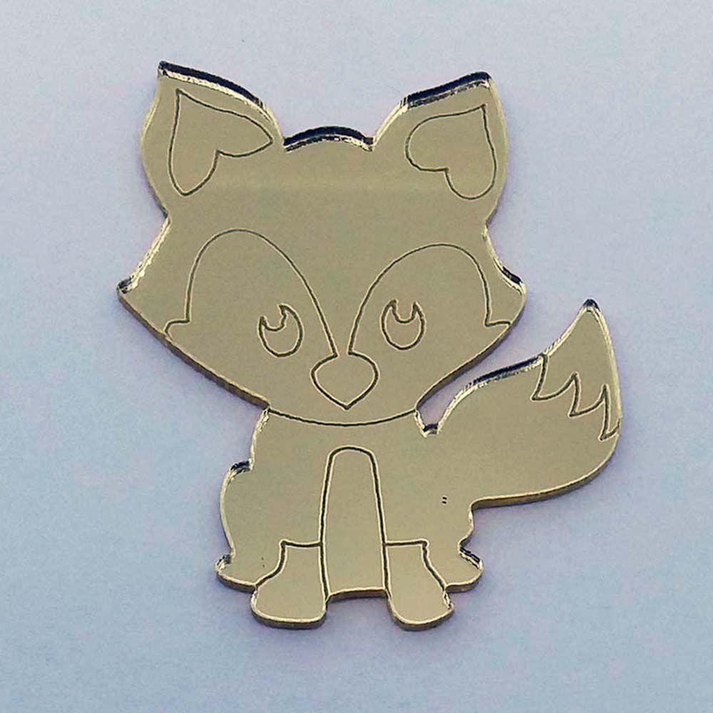 Kit 50 Aplique raposa pequeno príncipe Acrílico espelhado AP331