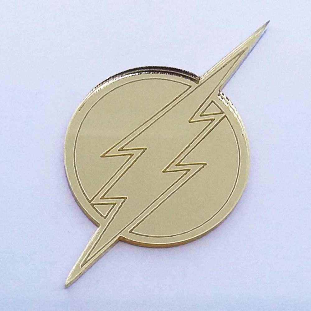Kit 50 Aplique simbolo flash heróis Acrilico espelhado AP282