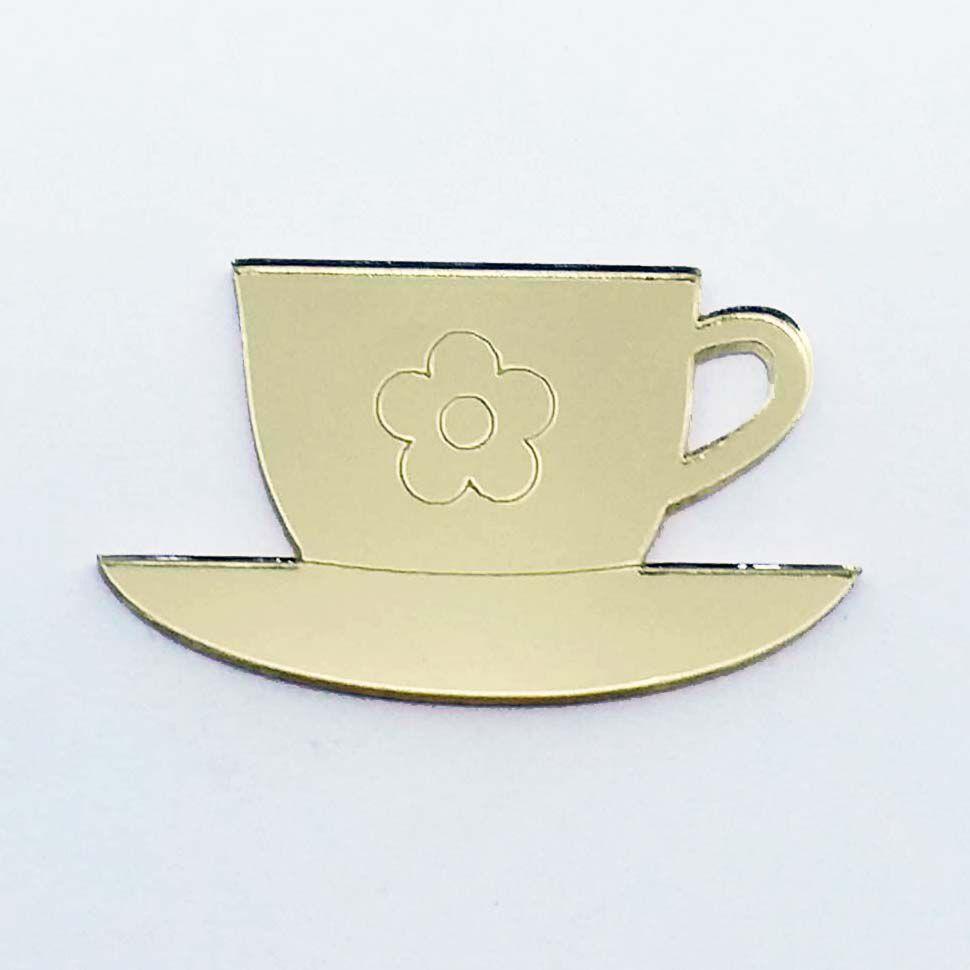 Kit 50 Aplique xícara de chá café Acrílico espelhado AP222