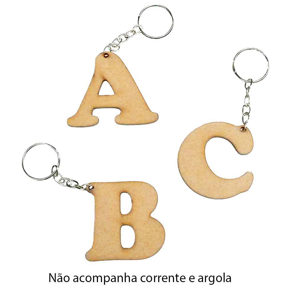 Kit 50 Recorte Chaveiro Letra 5 cm cooper letra a escolher