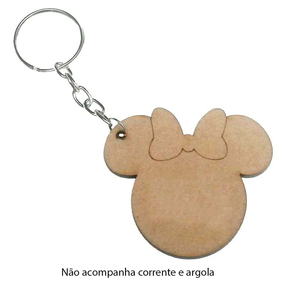 Kit 50 Recorte Chaveiro minnie minie mdf sem corrente