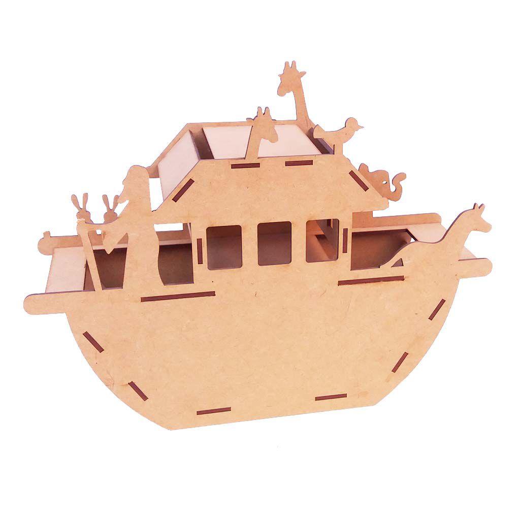 Kit 5 Arca de noé mdf 3d 32cm festa decoração centro de mesa