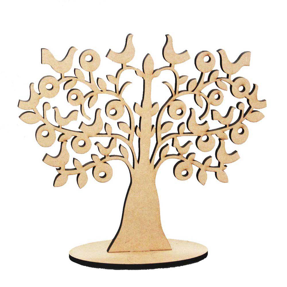 Kit 5 Árvore decorativa 30 cm em mdf 3mm mod2 com base