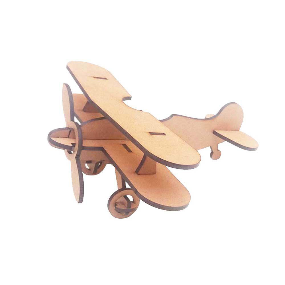 Kit 6 Avião Biplano 16 cm Quebra Cabeça 3D mdf