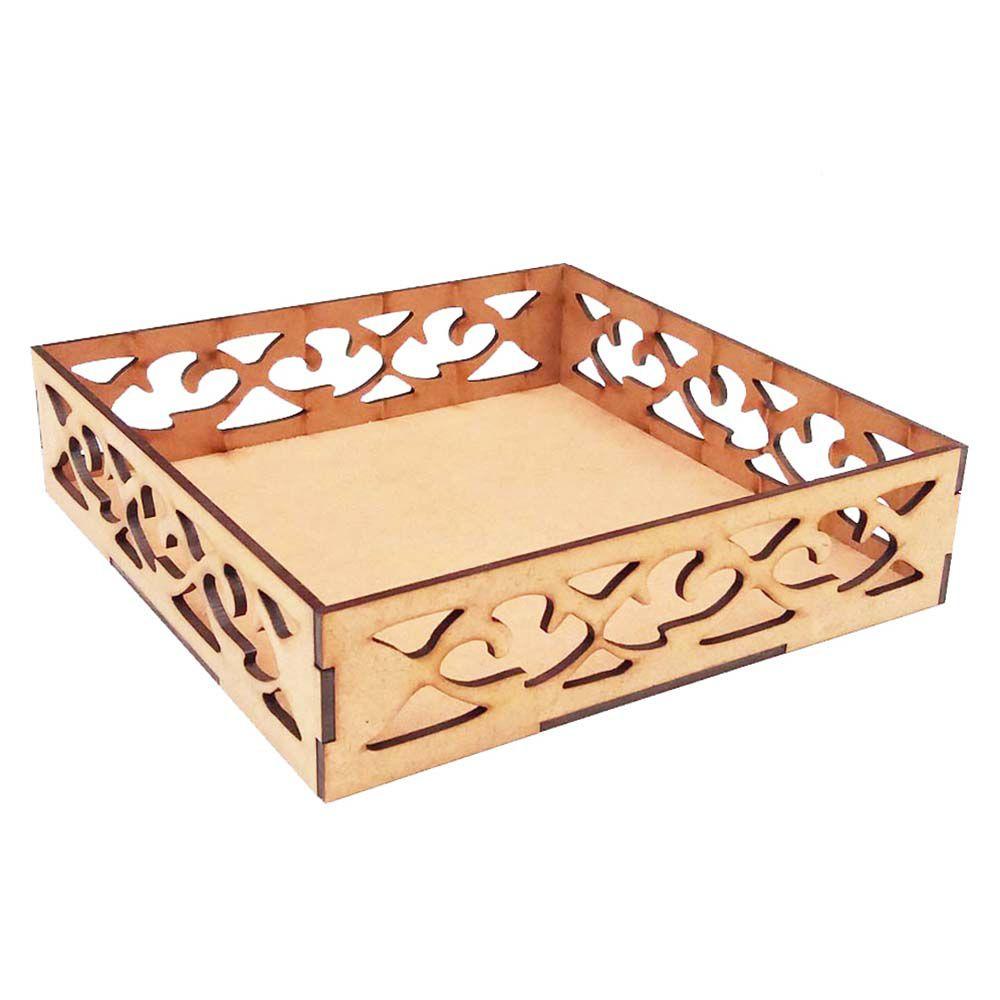 Kit 10 Bandeja mdf quadrada arabesco 30cm cupcake arte casa