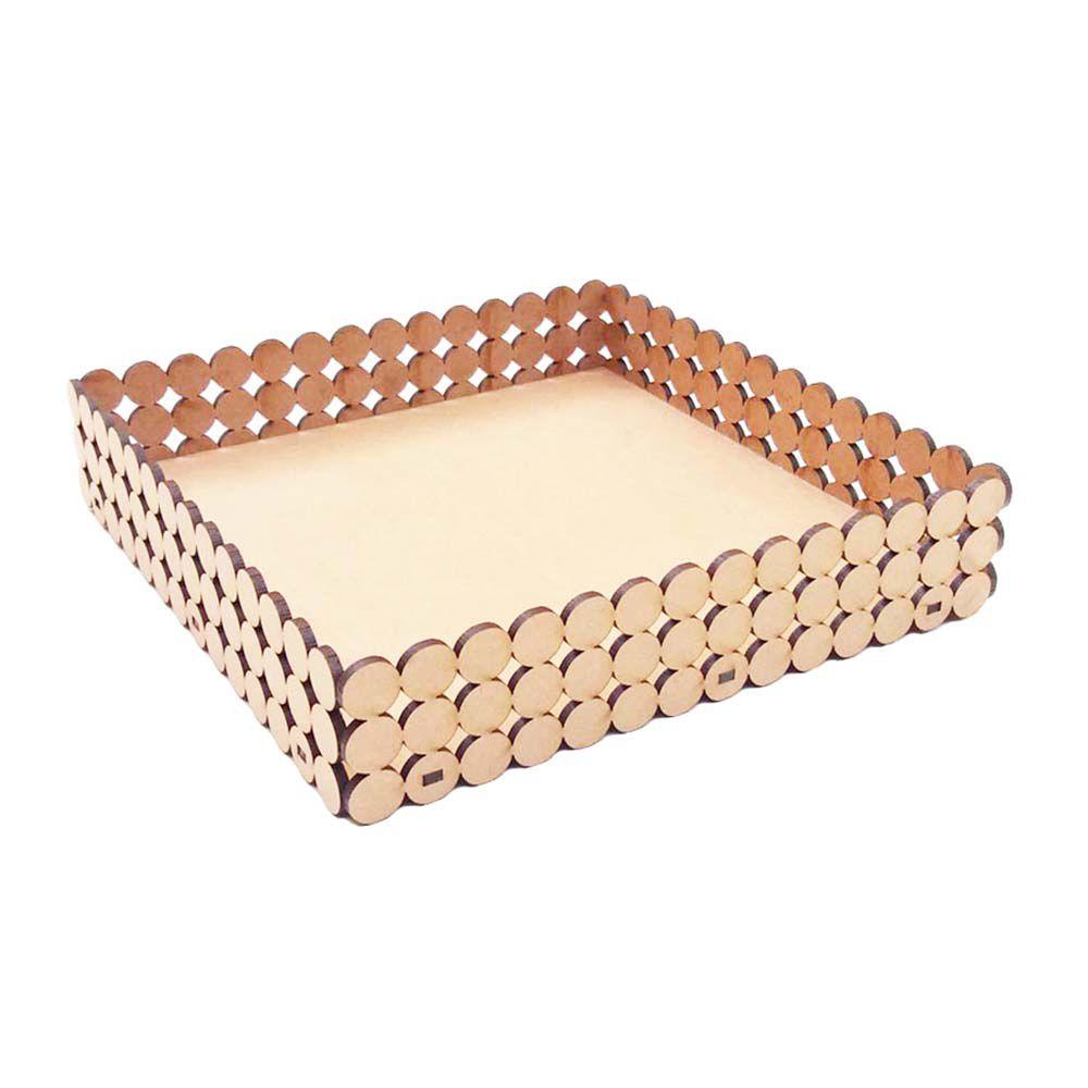 Kit 10 Bandeja mdf pérola 21 cm 3 fileiras doce pão de mel