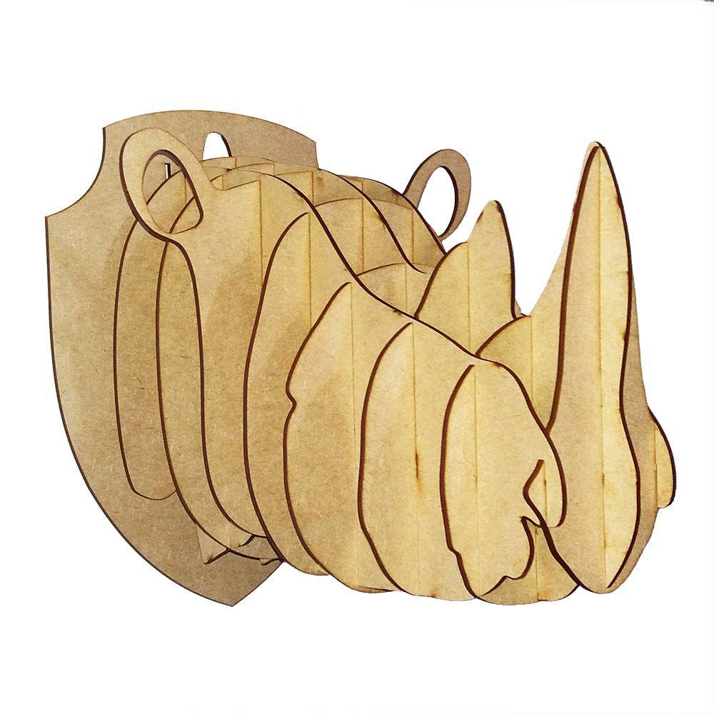 Kit 5 Cabeça Rinoceronte P quebra cabeça mdf arte 3d
