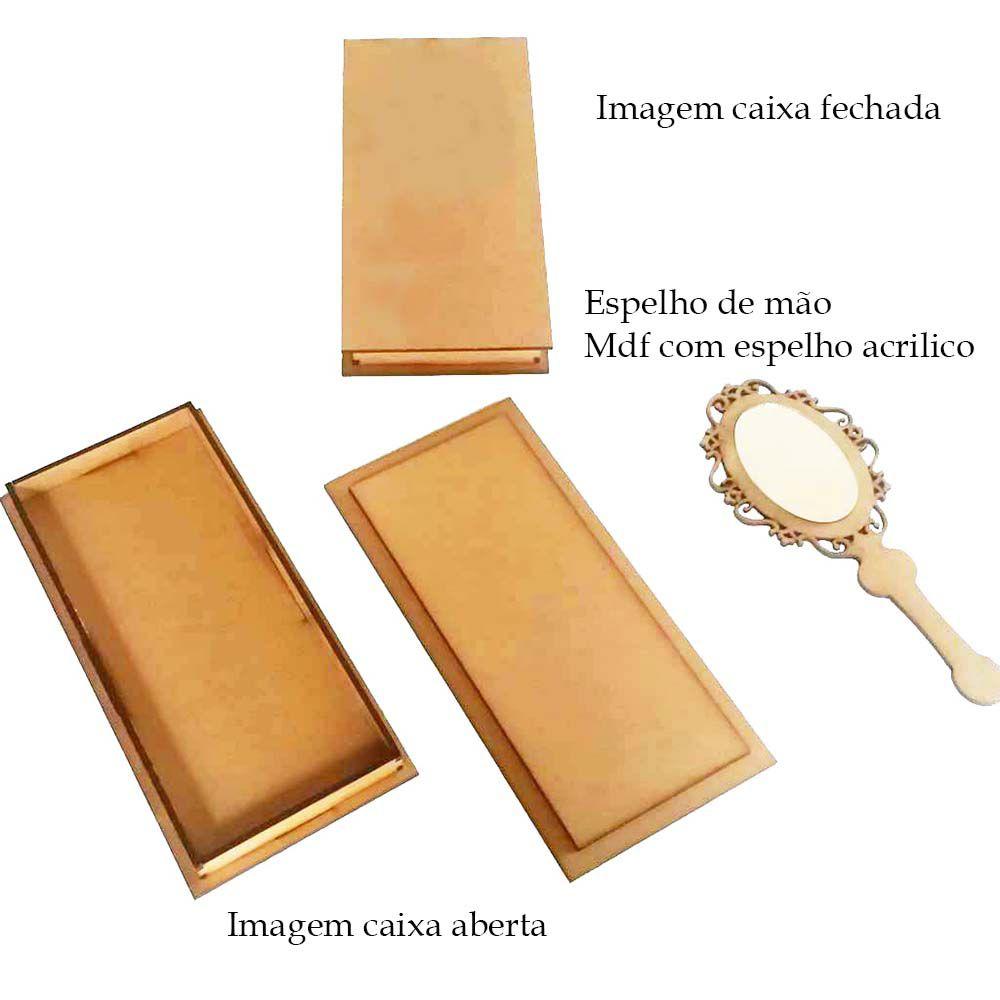 Kit 5 Caixa convite mdf espelho de mão 15cm com refletivo