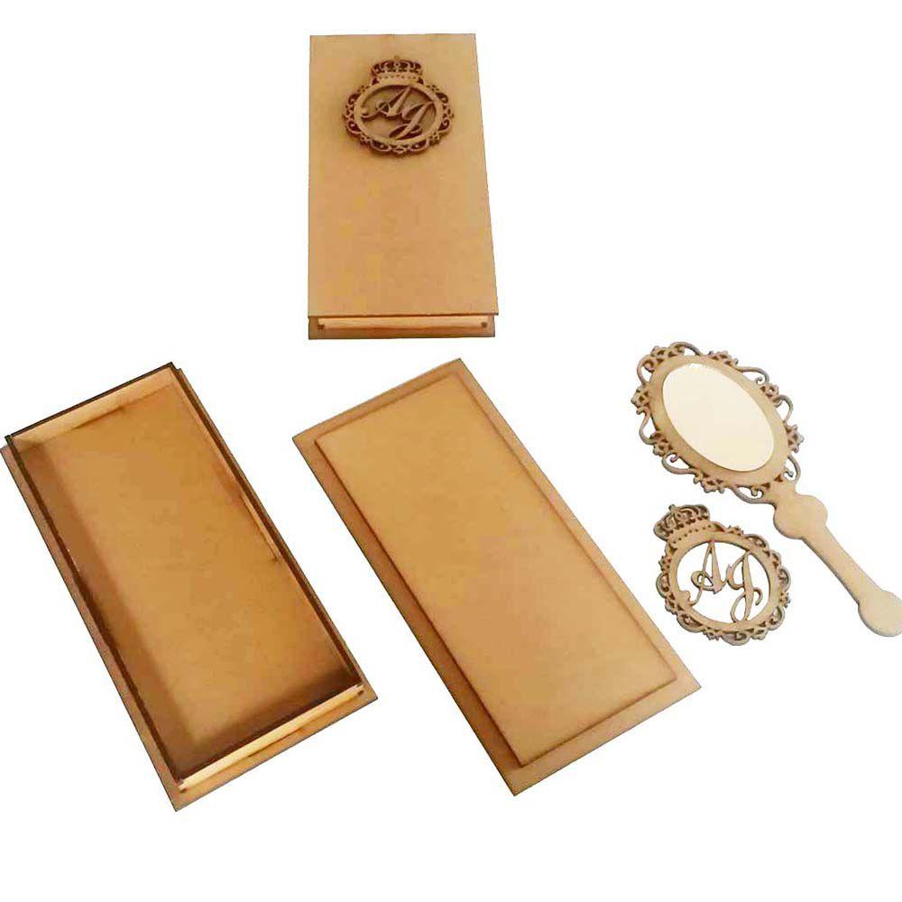 kit 5 Caixa convite mdf espelho de mão c refletivo e brasão