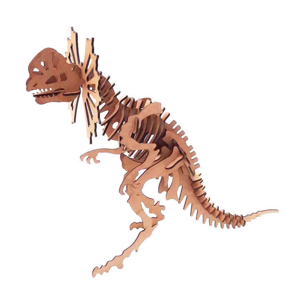 Kit 5 Dinossauro Dilofossauro Quebra Cabeça 3D coleção dino