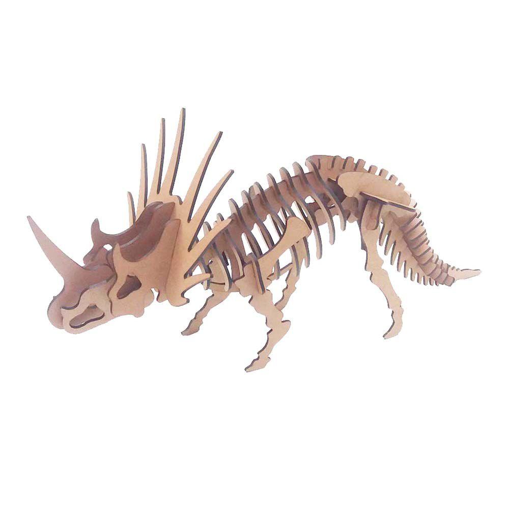 Kit 5 Dinossauro Estiracossauro Quebra Cabeça 3D dino mdf