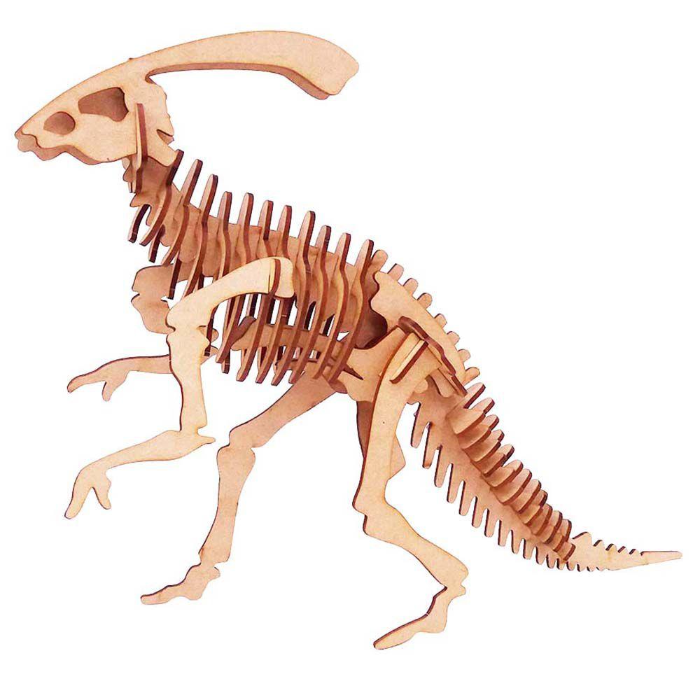 Kit 5 Dinossauro Parassauro Parassaurolophu Quebra Cabeça 3D