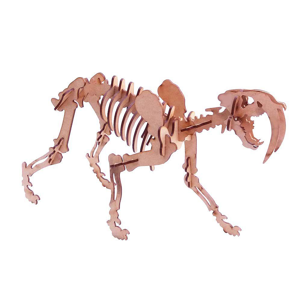 Kit 5 Dinossauro Tigre Dente de Sabre Quebra Cabeça 3D mdf