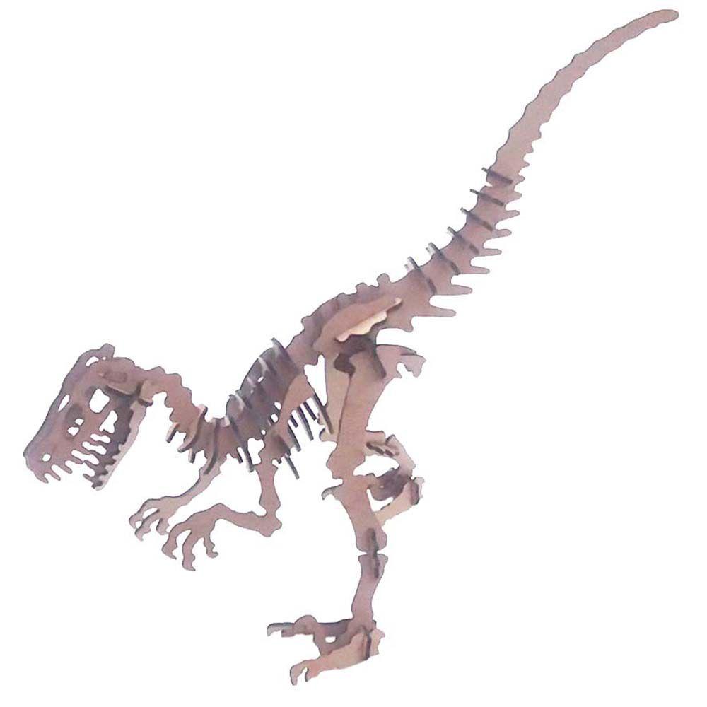 Kit 5 Dinossauro Velociraptor coleção Quebra Cabeça 3D mdf
