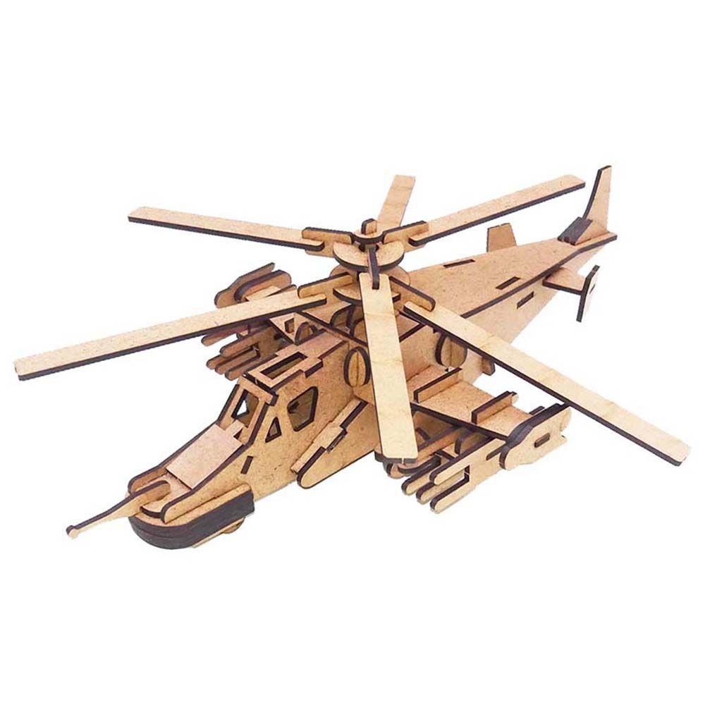 Kit 5 Helicóptero Attack Black shark Quebra Cabeça 3D mdf