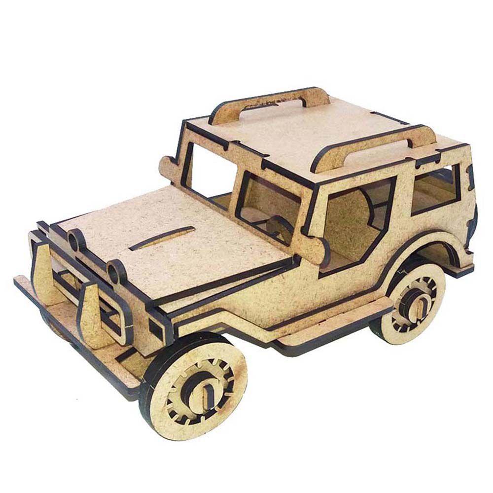 Kit 5 Jeep carro Quebra Cabeça 3D mdf festa selva jurassic