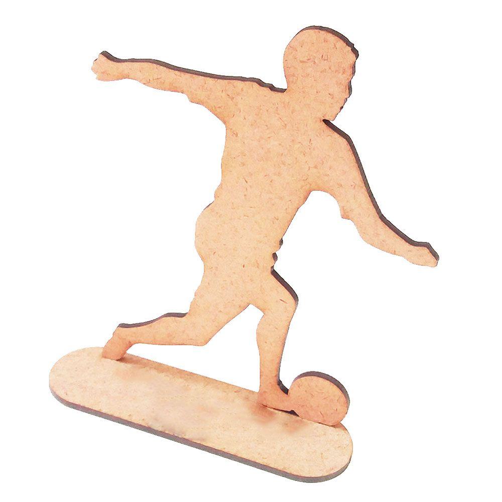 Kit 5 jogador de futebol mdf 15cm totem centro mesa esporte