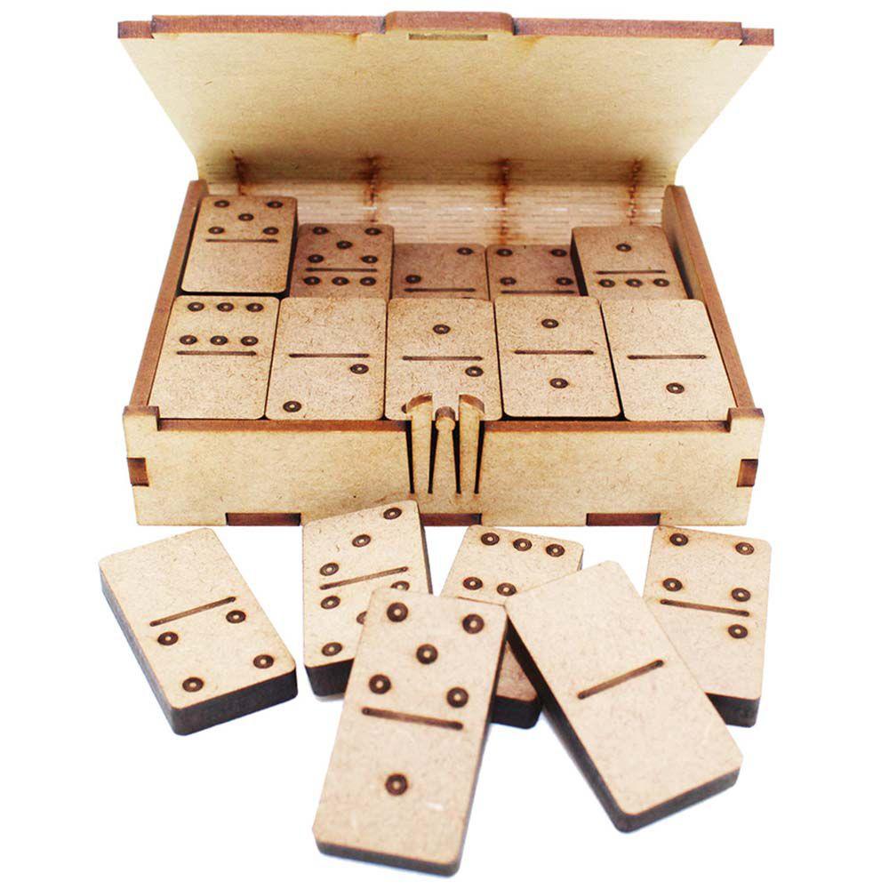 Kit 5 Jogo de Dominó Caixa e peças em mdf jogo lembrancinha