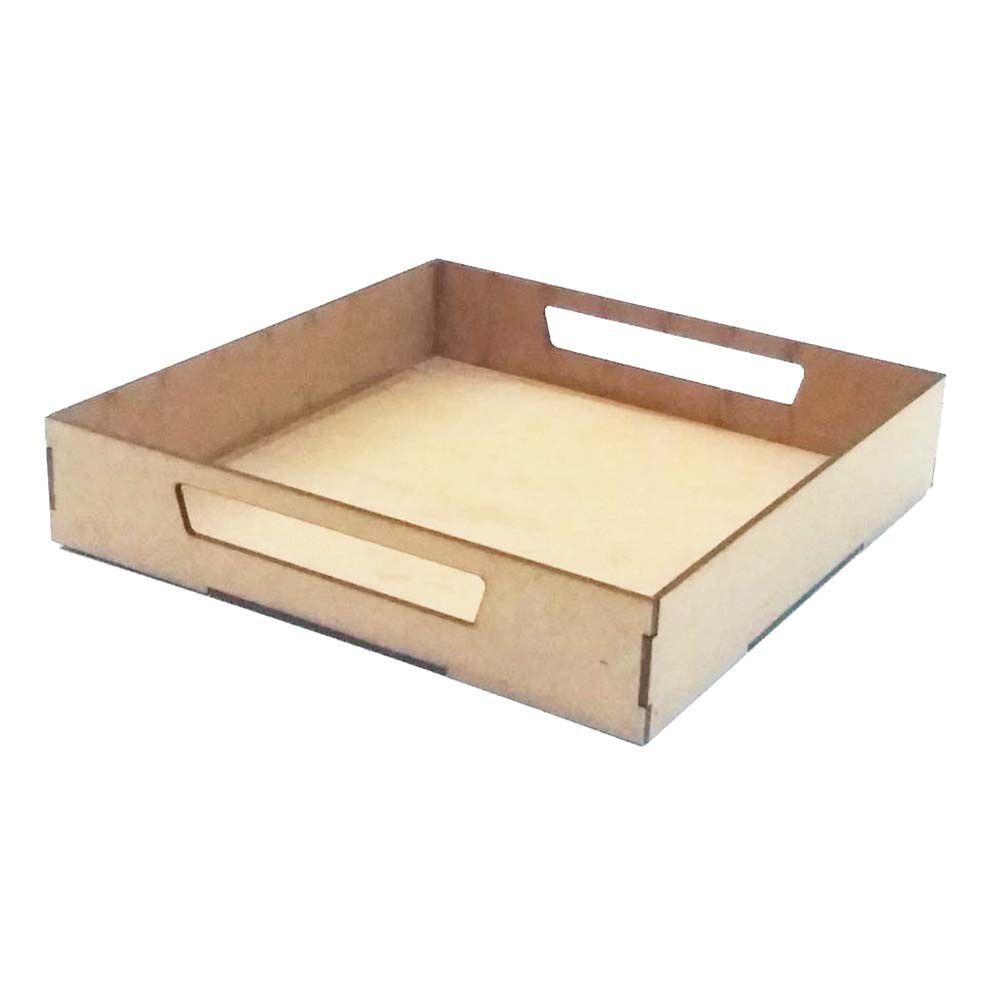 Kit 10 Bandeja quadrada 25 cm com alça festa café artesanato