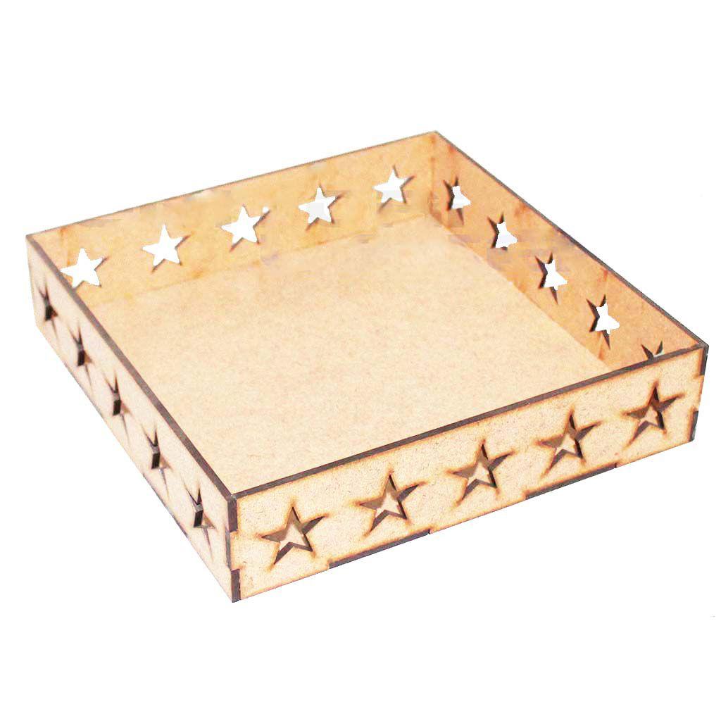 Kit 10 Bandeja mdf estrela 20 x 20 cm mesa arte festa doce
