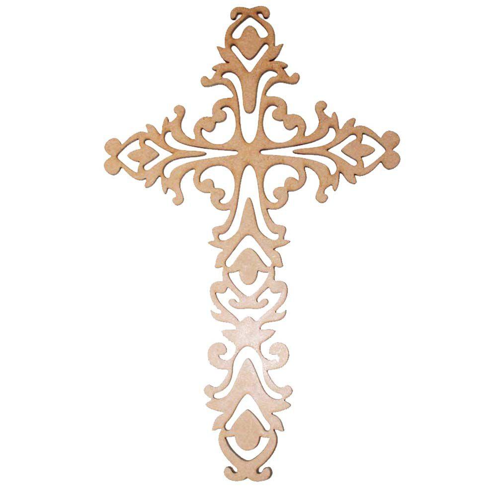 Kit 6 Crucifixo mdf 33cm cruz decoração artesanato religioso